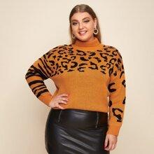 Jersey de hombros caidos de leopardo