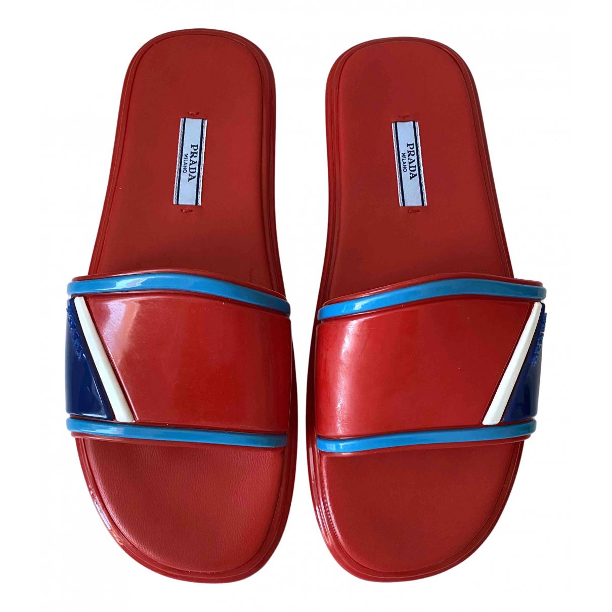 Prada \N Red Rubber Sandals for Women 40 EU