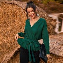 Pullover mit V Kragen, Rueschen, Fledermausaermeln und Guertel