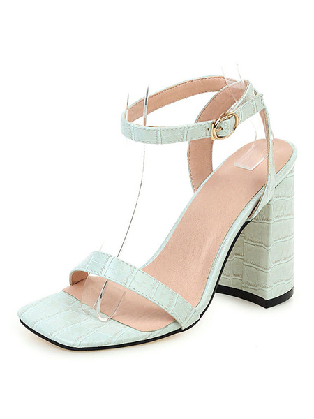 Milanoo High Heel Sandals Womens Open Toe Slingback Chunky Heel Sandals