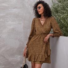 A-Linie Kleid mit V Kragen und Leopard Muster