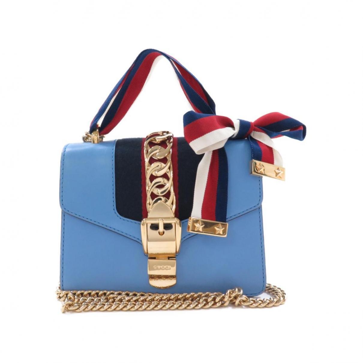 Gucci Sylvie Handtasche in  Blau Leinen