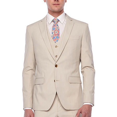 JF J.Ferrar 360 Stretch Mens Stretch Slim Fit Suit Jacket-Slim, 42 Long, Beige