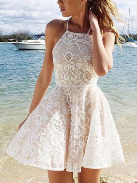 Milanoo Vestido de skater blanco con cordones de espagueti Vestido de verano de color solido