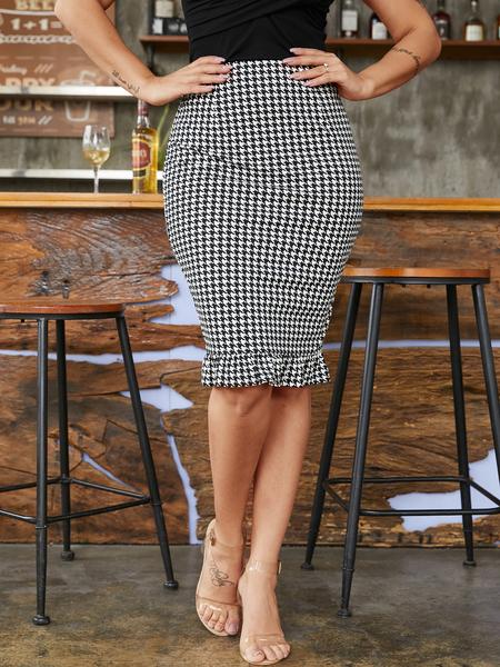 YOINS Black Slit Design Houndstooth Skirt