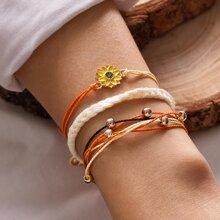 3pcs Floral Decor Braided Layered Bracelet