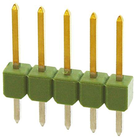 TE Connectivity , AMPMODU MOD II, 5 Way, 1 Row, Straight Pin Header (10)