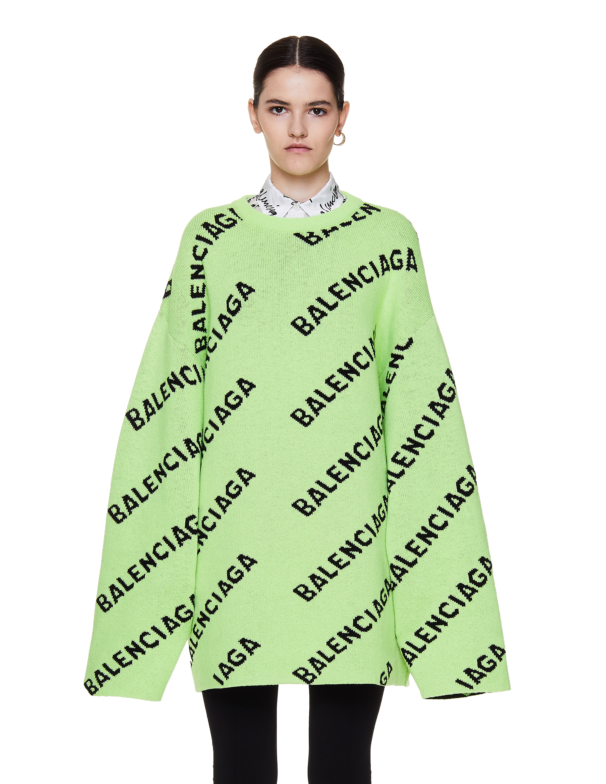 Balenciaga Green Wool Allover Logo Sweater
