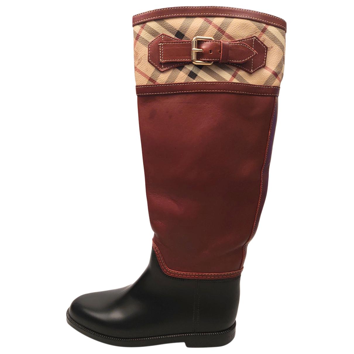 Burberry - Bottes   pour femme en cuir - rouge