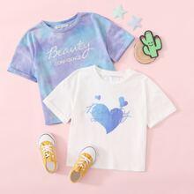 2 Stuecke T-Shirt mit Buchstaben Grafik