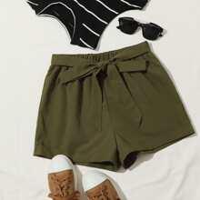 Shorts mit Band vorn und elastischer Taille