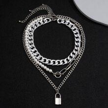 3pcs Guys Lock Pendant Necklace