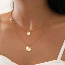 2pcs Ribbed Disc Charm Necklace