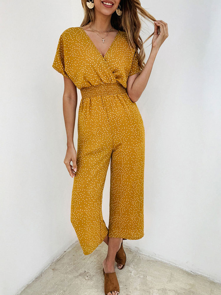 Milanoo Yellow One Piece Outfit Polka Dot V-Neck Short Sleeves Polyester Cropped Summer Women\'s Outfit
