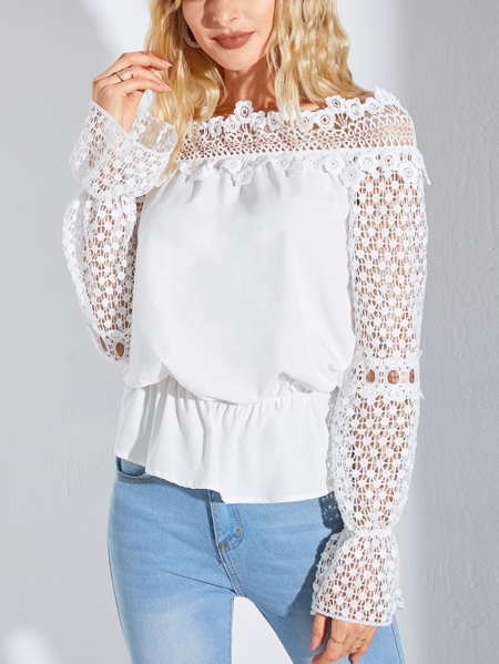 YOINS White Hollow Design Off The Shoulder Design Long Sleeves Blouse