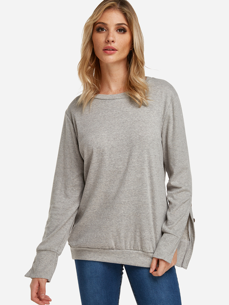 Yoins Grey Button Design Slit Details Crew Neck Long Sleeves T-shirts