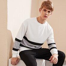 Pullover mit Kontrast Einsatz und sehr tief angesetzter Schulterpartie