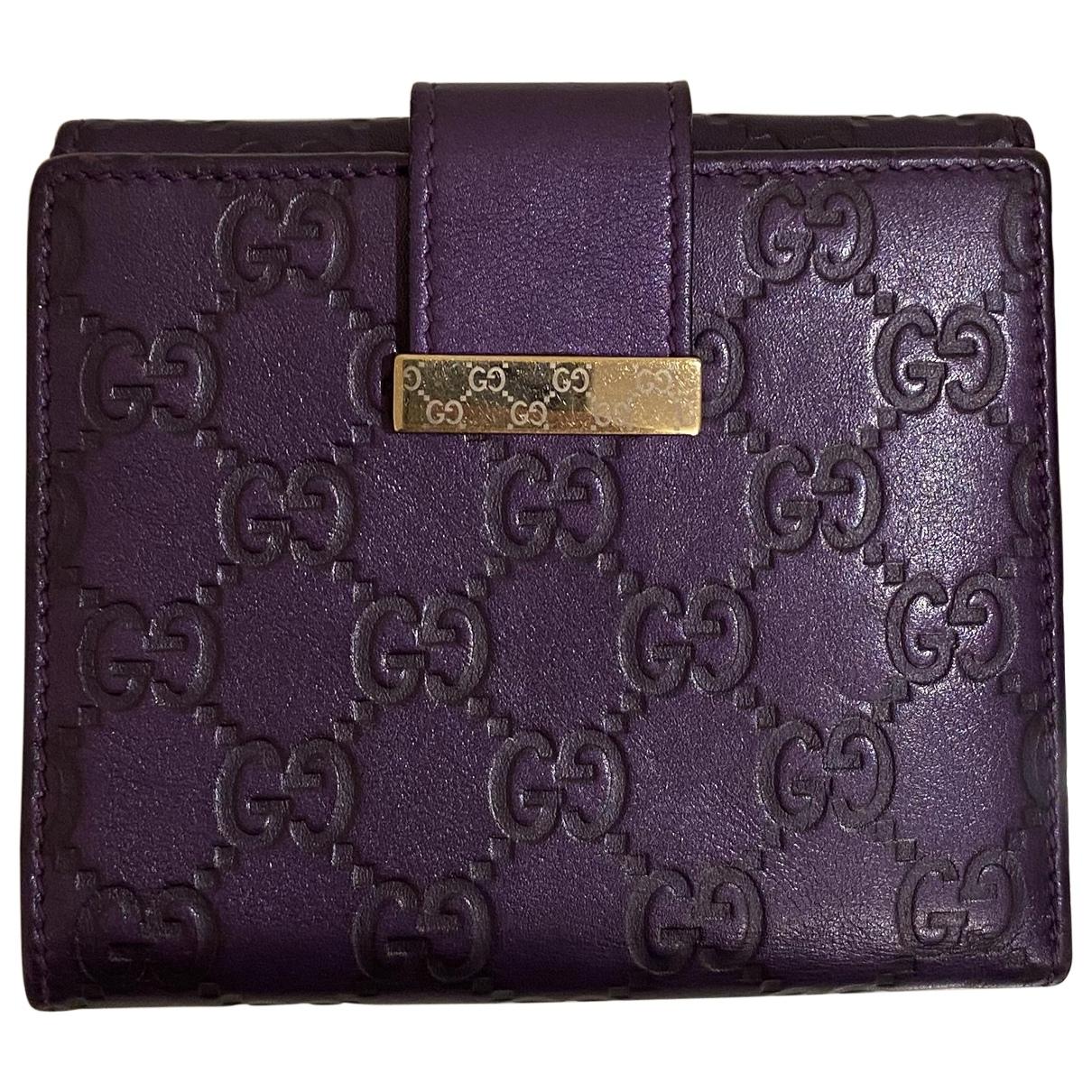 Gucci - Portefeuille   pour femme en cuir - violet
