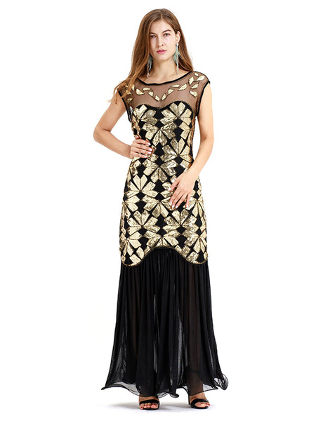 Milanoo Great Gatsby Flapper Dress 1920s Fashion Outfits Vintage Costume Women's Sequined With Tassels 20s Party Dress Halloween