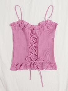 Lace Up Knot Mesh Frill Trim Rib-knit Top