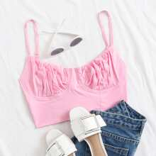 Ruched Bust Lace Up Crop Cami