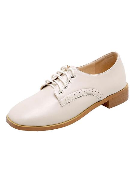 Milanoo Zapatos casuales planos con cordones de punta cuadrada Oxfords para mujer