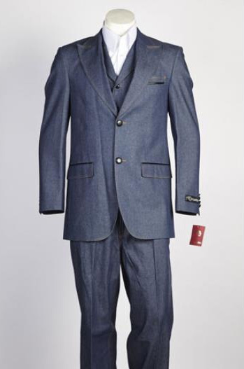 Mens 2 Button Two Piece Suit Blue
