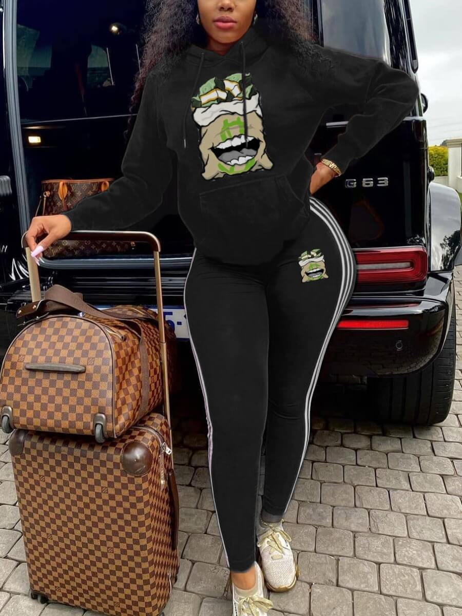 LW Lovely Sportswear Hooded Collar Print Black Plus Size Two-piece Pants Set