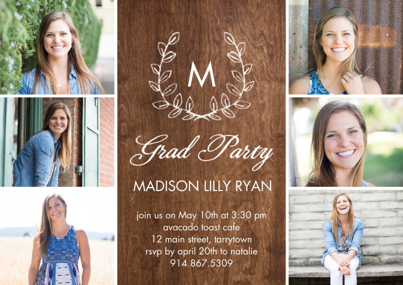 2020 Graduation Invitations 5x7 Cards, Premium Cardstock 120lb with Scalloped Corners, Card & Stationery -Grad Party Initial Laurel by Tumbalina
