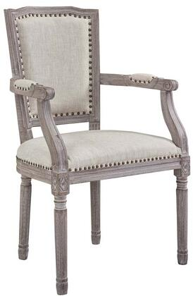 Penchant Collection EEI-2606-BEI Dining Armchair with Louis XVI Chair Design  Antique Nailhead Trim  Dense Foam Padding and Polyester Fabric