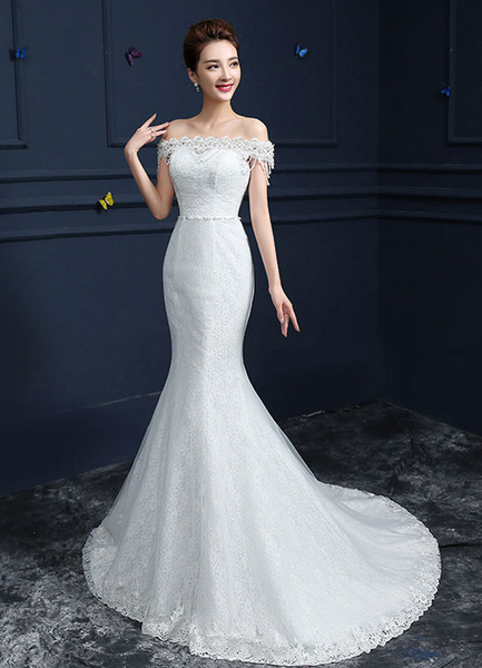 Milanoo Lace Wedding Dress Mermaid Off The Shoulder Bridal Gown Beading Sash Tiered Chains White Chapel Train Bridal Dress