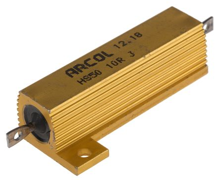 Arcol HS50 Series Aluminium Housed Axial Wire Wound Panel Mount Resistor, 10Ω ±5% 50W (20)