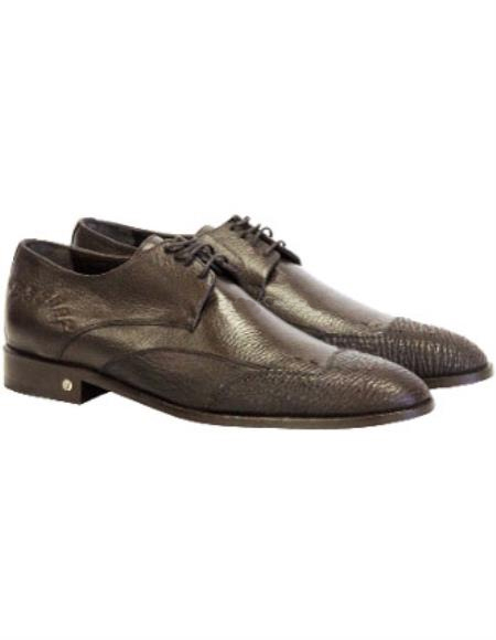 Men's Brown Vestigium Genuine Sharkskin Derby Shoes