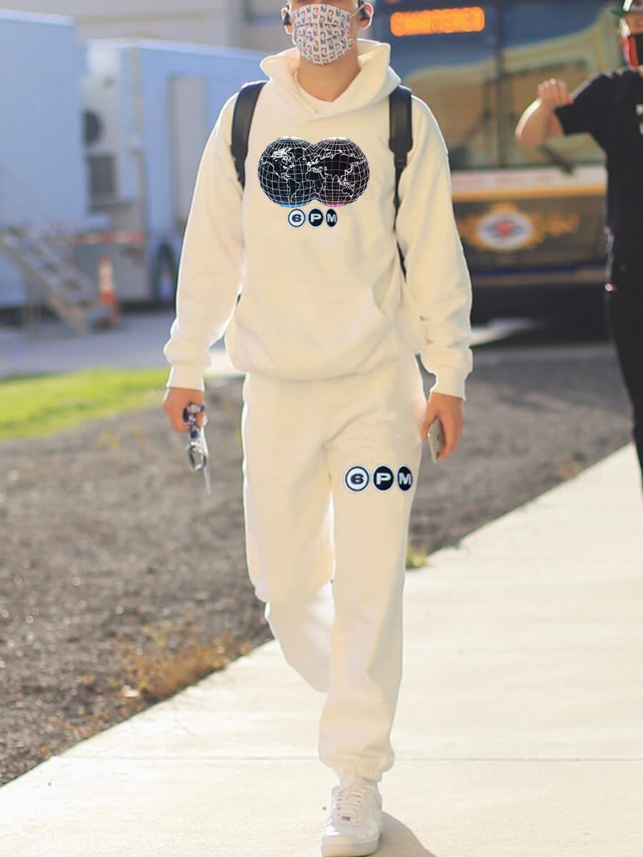 LW Lovely Stylish Hooded Collar Print White Men Two-piece Pants Set