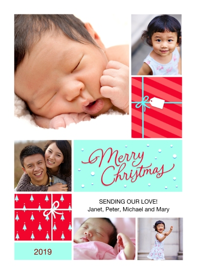 Christmas Photo Cards 5x7 Cards, Premium Cardstock 120lb with Scalloped Corners, Card & Stationery -Merry Gifts