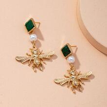 Ohrringe mit Kunstperlen und Biene Dekor