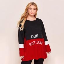Langes T-Shirt mit Buchstaben Grafik