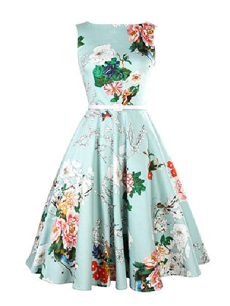 Milanoo Blue Floral Print Flare Dress Sash Vintage Dress For Women