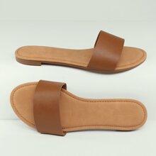 Flache Sandale mit offener Zehenpartie und einreihigem Band