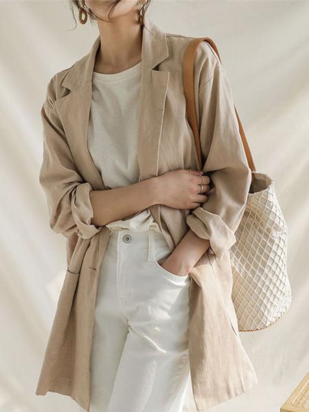 Milanoo Women Blazer Stylish Turndown Collar Pockets Long Sleeves Oversized Polyester