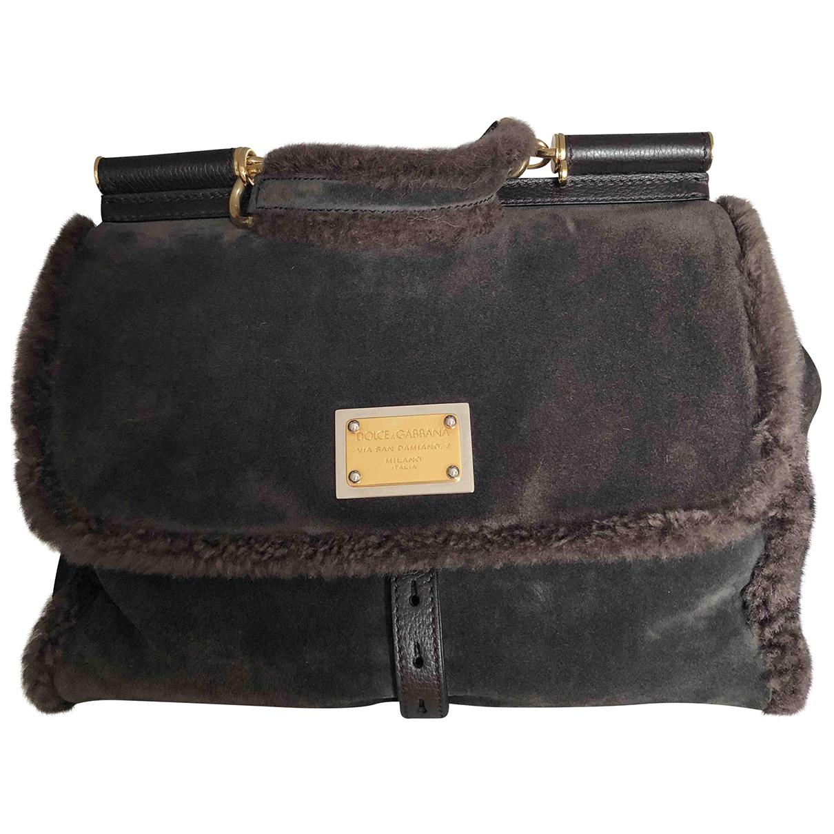Dolce & Gabbana Sicily Handtasche in  Braun Veloursleder