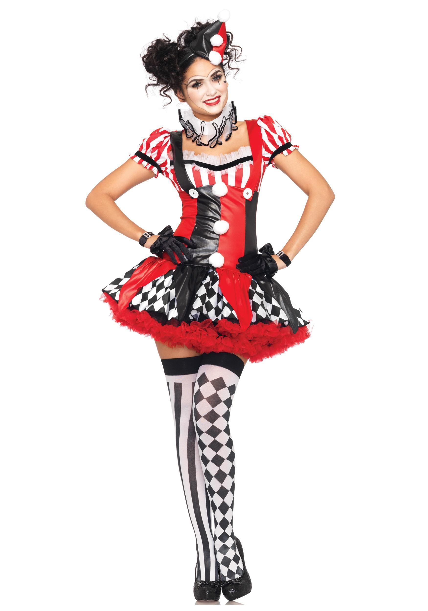 Women's Naughty Harlequin Clown Costume