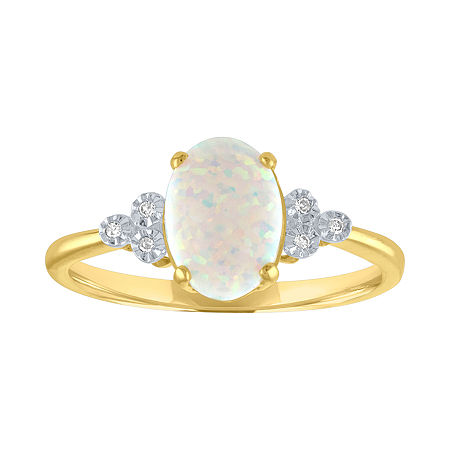 Womens Lab Created White Opal 10K Gold Cocktail Ring, 7 , No Color Family