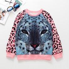 Sweatshirt mit 3D Leopard Muster