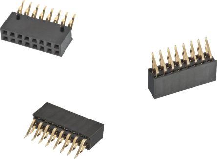 Wurth Elektronik , WR-PHD, 6101 2.54mm Pitch 16 Way 2 Row Right Angle PCB Socket, Through Hole, SMT Termination (500)