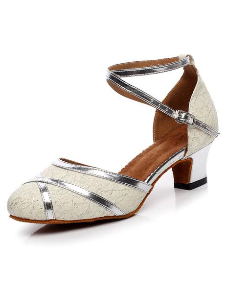 Milanoo Women Dance Shoes Sequins Round Toe Latin Dance Shoes Gold Ballroom Shoes