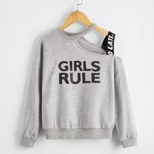Girls Asymmetrical Neck Letter Tape Pullover