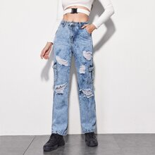 Flap Pocket Ripped Straight Leg Jeans