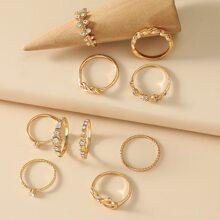 10pcs Rhinestone Decor Ring