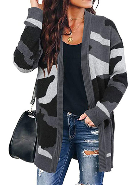Milanoo Sweaters Cardigans Hunter Green Acrylic Camouflage Long Sleeves Women\s Cardigans